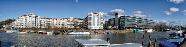Punto di vista di area di Bristol Docks, U Regno Unito di Harbourside fotografie stock libere da diritti