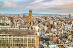 Punto di vista di Ariel di Osaka durante il giorno immagine stock libera da diritti