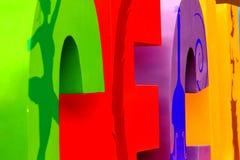 Punto di vista astratto della parte di Tijuana Cultural Center segno di anniversario di 35 anni Immagini Stock