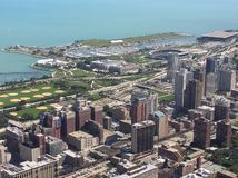 Punto di vista da Willis Tower, Chicago, IL di Grant Park immagine stock