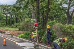 Punto di vista dei muratori che lavorano alle strade del bordo della strada, foresta del baobab come fondo immagini stock