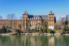 Punto di vista del Castello del Valentino a Torino Piemonte, Italia fotografia stock libera da diritti