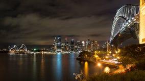 Punto di vista del paesaggio di notte di Sydney Australia Immagine Stock Libera da Diritti