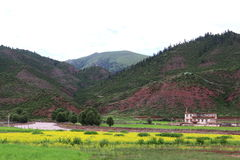 Punto di vista del paese al Tibet Fotografia Stock Libera da Diritti