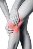 Punto di vista del primo piano di una giovane donna con dolore del ginocchio Fotografia Stock Libera da Diritti