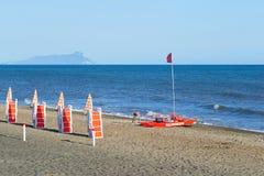 Punto di vista del San Felice Circeo dal mare Immagini Stock Libere da Diritti