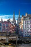 Punto di vista del san Marie Cathedral a Bayonne, Francia immagini stock libere da diritti