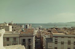 Punto di vista del san Remy di Bastione a Cagliari, nei colori dell'annata della Sardegna Fotografie Stock Libere da Diritti