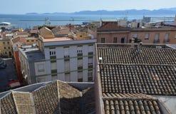 Punto di vista del san Remy di Bastione a Cagliari, in Sardegna Fotografia Stock