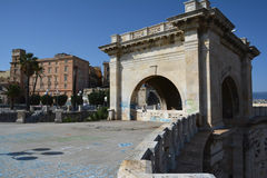 Punto di vista del san Remy di Bastione a Cagliari, in Sardegna Fotografia Stock Libera da Diritti