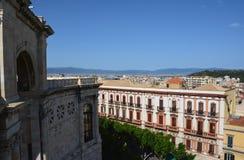 Punto di vista del san Remy di Bastione a Cagliari, in Sardegna Immagine Stock