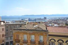 Punto di vista del san Remy di Bastione a Cagliari, in Sardegna in bianco e nero Immagini Stock