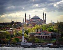 Punto di vista dell'acqua di Hagia Sophia Istanbul Waterfront Immagini Stock Libere da Diritti