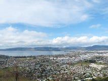 Punto di vista dell'uccello della città alla Nuova Zelanda Fotografia Stock