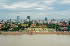 Punto di vista dell'uccello della città di Phnom Penh Fotografia Stock Libera da Diritti