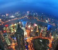 Punto di vista dell'uccello a Schang-Hai Cina Grattacielo in costruzione in priorità alta immagini stock