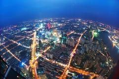 Punto di vista dell'uccello a Schang-Hai Cina Grattacielo in costruzione in priorità alta Fotografia Stock Libera da Diritti