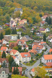 Punto di vista dell'uccello sopra Wernigerode, Garz, Sassonia-Anhalt Fotografia Stock Libera da Diritti
