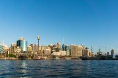 Punto di vista della città di Sydney CBD di Darling Harbour e di Sydney Tower Immagine Stock