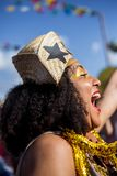 Punto di vista della donna in brasiliano tipico, partito di Junina fotografie stock libere da diritti