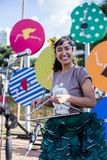 Punto di vista della donna in brasiliano tipico, partito di Junina immagini stock