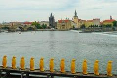 Punto di vista della Moldava e di Charles Bridge, Praga, repubblica Ceca Fotografia Stock Libera da Diritti