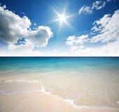 Punto di vista della natura del paesaggio della Tailandia del cielo blu della spiaggia del sole della sabbia di mare Fotografie Stock