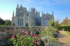 Punto di vista della zona orientale della cattedrale da un giardino pubblico con i fiori variopinti nella priorità alta, Ely, Cam fotografia stock libera da diritti