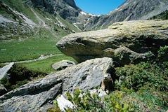 Punto di vista delle montagne e di una marmotta dal suo burrow Immagini Stock Libere da Diritti