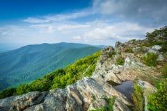 Punto di vista dello Shenandoah Valley e del Ridge blu dal riassunto di Hawksbill Fotografia Stock Libera da Diritti