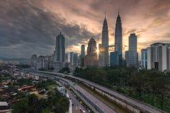 Punto di vista di alba di Kuala Lumpur Fotografie Stock Libere da Diritti