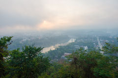 Punto di vista di alba a Luang Prabang, Laos Fotografie Stock