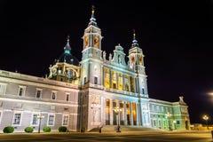 Punto di vista di Almudena Cathedral a Madrid, Spagna Fotografia Stock
