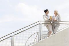 Punto di vista di angolo basso di giovani donne di affari che parlano mentre facendo una pausa inferriata contro il cielo Immagine Stock