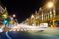 Punto di vista di Avenue de la Liberte alla notte a Lussemburgo Fotografia Stock Libera da Diritti