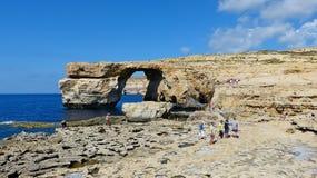 Punto di vista di Azure Window a Malta fotografia stock libera da diritti