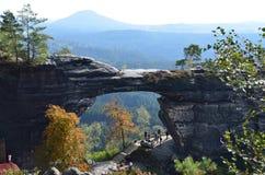 Punto di vista di Ceco Svizzera del parco nazionale di paesaggio Immagini Stock