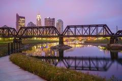 Punto di vista di Columbus Ohio Skyline del centro immagine stock libera da diritti