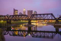 Punto di vista di Columbus Ohio Skyline del centro fotografia stock