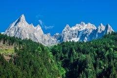 Punto di vista di Dru Peak a Chamonix-Mont-Blanc, alpi, Francia Fotografia Stock Libera da Diritti
