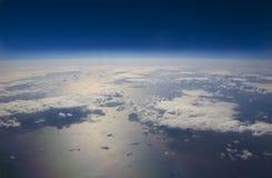 Punto di vista di elevata altitudine della terra nello spazio. Fotografie Stock