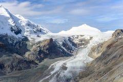 Punto di vista di Franz Josefs Hohe Glacier, parco nazionale di Hohe Tauern Fotografie Stock Libere da Diritti