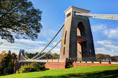 Punto di vista di giorno di Clifton Suspension Bridge in Bristol Fotografia Stock
