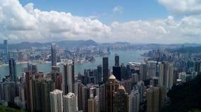 Punto di vista di Hong Kong e di Victoria Bay da Victoria Peak Immagine Stock Libera da Diritti