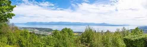 Punto di vista di Leman Lake dal parco di Signal de Bougy Fotografie Stock