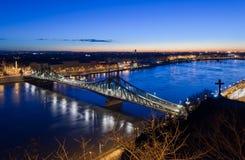 Punto di vista di Liberty Bridge, Budapest, Ungheria Fotografia Stock Libera da Diritti