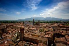 Punto di vista di Lucca e di Duomo di San Martino, Lucca, Italia Fotografie Stock