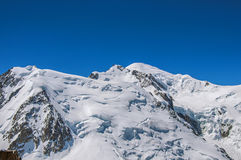 Punto di vista di Mont Blanc da Aiguille du Midi in alpi francesi Fotografia Stock Libera da Diritti