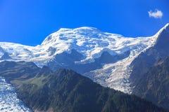 Punto di vista di Mont Blanc da Chamonix-Mont-Blanc Fotografia Stock Libera da Diritti