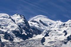 Punto di vista di Mont Blanc un bello giorno soleggiato Alpi francesi Fotografia Stock